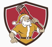 Santa Claus Plumber Monkey Wrench Shield Cartoon by patrimonio