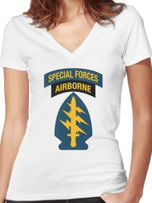 Special Forces Airborne Women's Fitted V-Neck T-Shirt