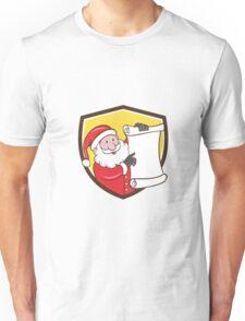 Santa Claus Paper Scroll Pointing Shield Cartoon Unisex T-Shirt