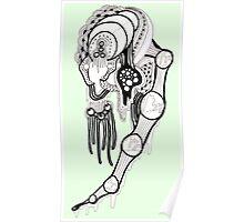 Green doodle Art Monster Poster
