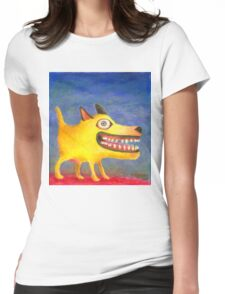 Painted Yellow Dog...Portrait of a Happy Dog Womens Fitted T-Shirt