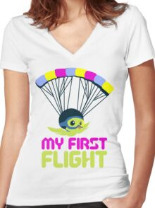 MY FIRST FLIGHT Women's Fitted V-Neck T-Shirt