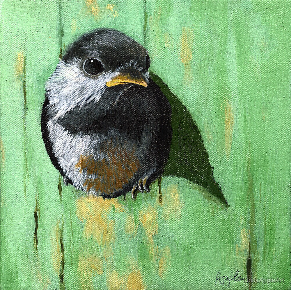 A Bright New Day- baby chickadee by LindaAppleArt