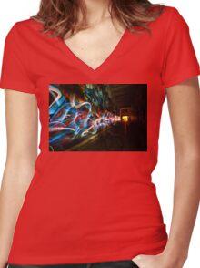 Dark Street Art Women's Fitted V-Neck T-Shirt