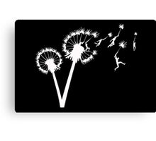 Dandylion Flight - white silhouette Canvas Print