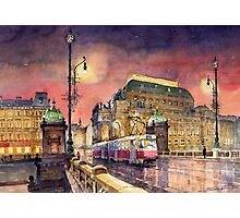 Prague  Night Tram National Theatre Photographic Print