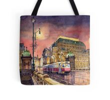 Prague  Night Tram National Theatre Tote Bag