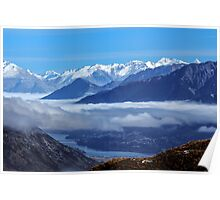 Queenstown from Crown Range Road Poster