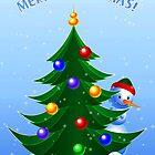 Snowman at Christmas Tree by lydiasart