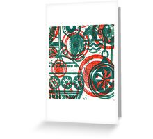 Xmas Baubles 14 -red and green  lino print Greeting Card