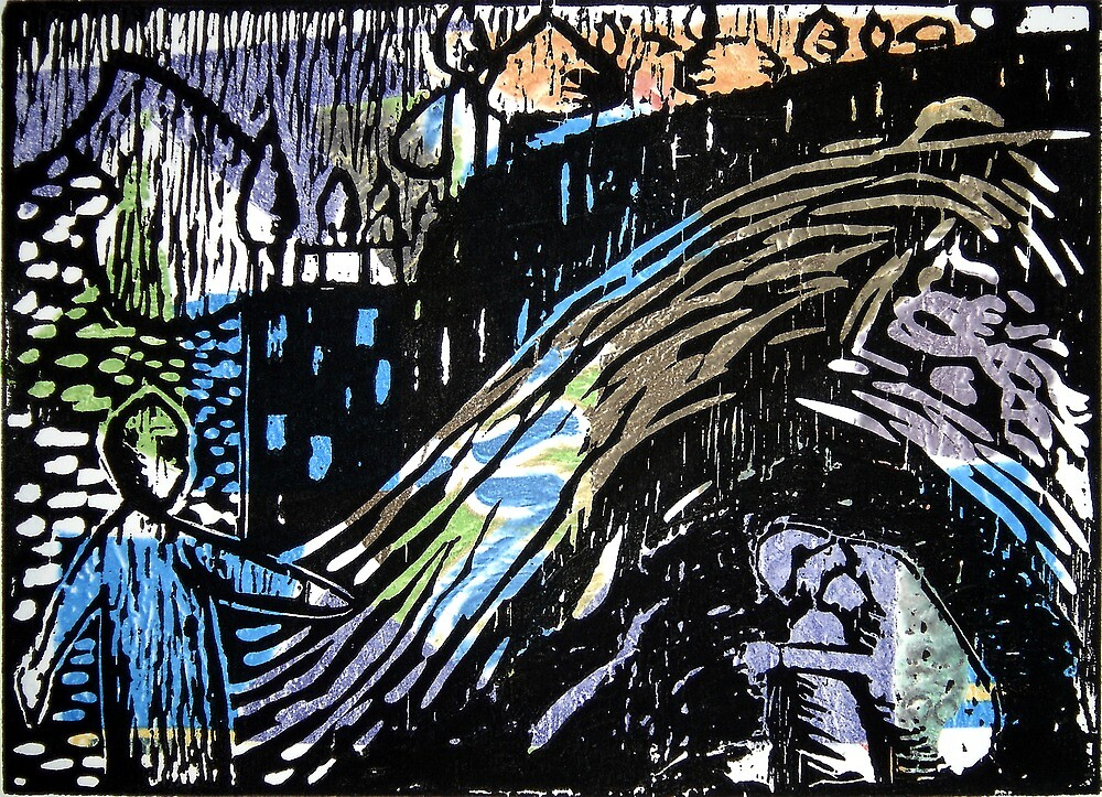 After Kandinsky - Woodblock Print by Marilyn Brown