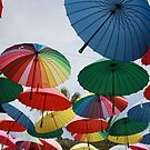Street Decorated With Colored Umbrellas by taiche