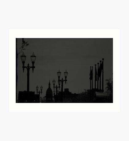 bk and white city scape - Lansing Michigan Art Print