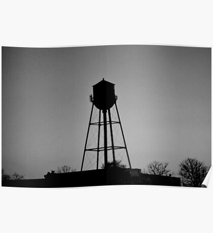 Detroit Water Tower in Black and White  Poster