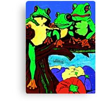 Frog Family Hanging Out On A Limb 3 Canvas Print