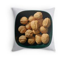 Bowl of Unshelled Walnuts  Throw Pillow