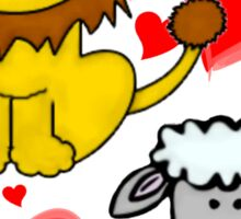 Lion Lamb Love Sticker