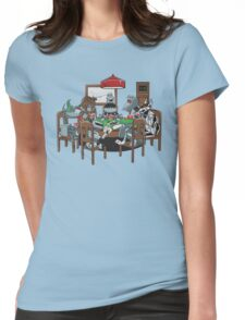 Robot Dogs Playing Poker Womens Fitted T-Shirt