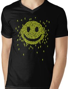 Happy Crowd Mens V-Neck T-Shirt