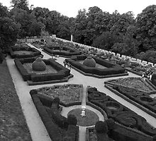 Chillingham Castle Gardens (B&W) by Ryan Davison Crisp
