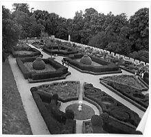 Chillingham Castle Gardens (B&W) Poster