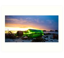 one green bottle laying on the beach Art Print