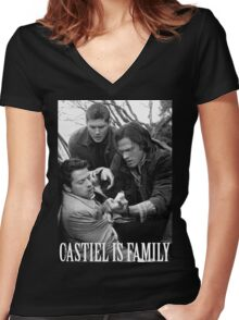 Castiel is family Women's Fitted V-Neck T-Shirt
