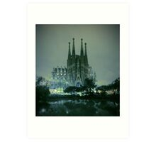 Sagrada Familia at night Art Print