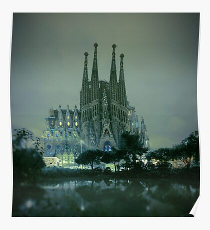 Sagrada Familia at night Poster