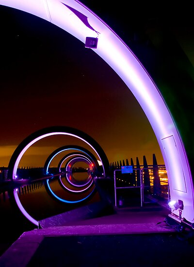 Falkirk Wheel at Night by Claire Tennant