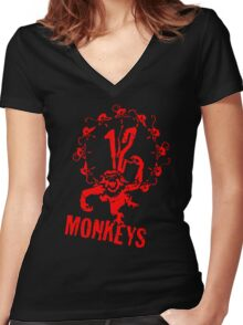 12 Monkeys Red Stencil Women's Fitted V-Neck T-Shirt