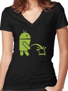 Android peeing apple Women's Fitted V-Neck T-Shirt