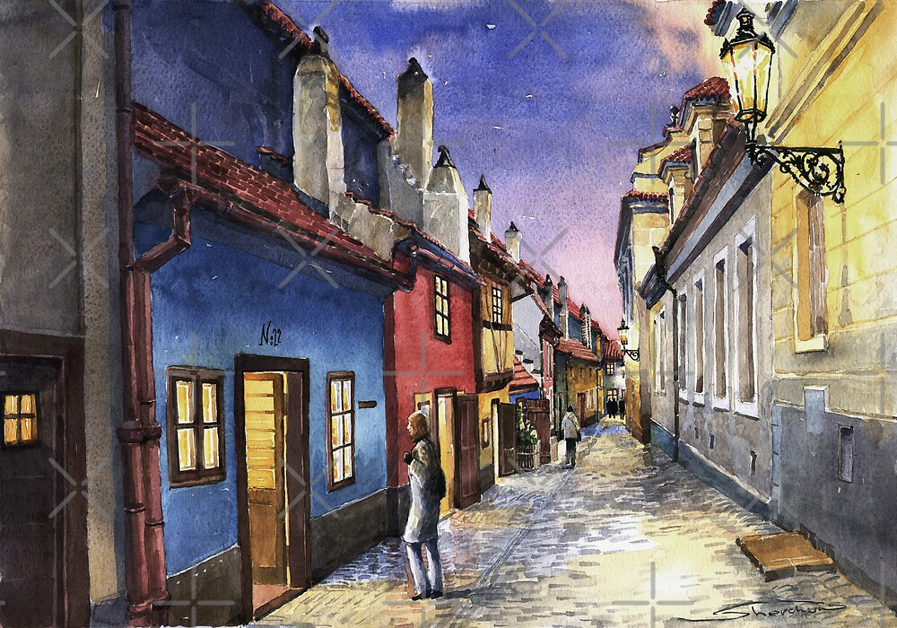 Prague Old Street Golden Line  by Yuriy Shevchuk