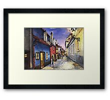Prague Old Street Golden Line  Framed Print
