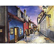 Prague Old Street Golden Line  Photographic Print
