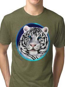 Framed White Tiger Face Tri-blend T-Shirt