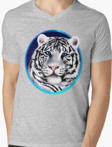Framed White Tiger Face Mens V-Neck T-Shirt