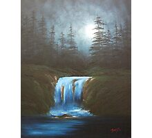 Moonlight Waterfall Photographic Print