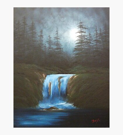 Moonlight Waterfall Photographic Print