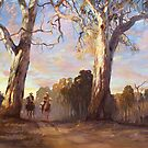 Riders in the Red Gums - after Hans Heysen by Pieter  Zaadstra