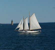 A Sailboat and Ram Island Ledge Light by MaryinMaine