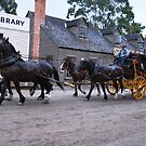 Stagecoach travelling at Sovereign Hill Vic. Australia. by Heabar