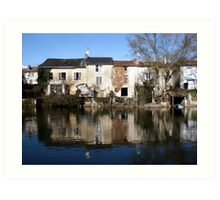 Waterside houses Art Print