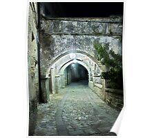 Arcade in the Medieval Streets of an old Italian Village at Night Poster