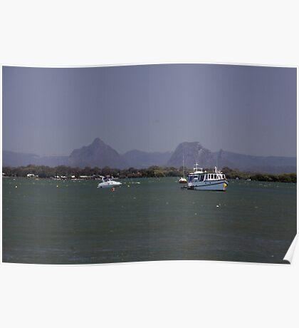 Glass House Mountains from Pumicestone Passge Poster