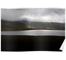 Sun rays break through cloud, Iceland Poster