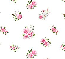 Cute vintage rose flower pattern on white background by LourdelKaLou