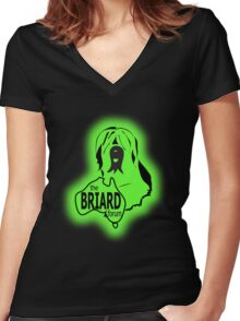 Briard Forum logo Women's Fitted V-Neck T-Shirt