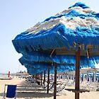 Blue and White Fringed Beach Umbrellas  by jojobob