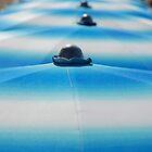 Row of Blue Beach Umbrellas  by jojobob